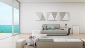 Pranzare di vista del mare e salone della casa di spiaggia di lusso di estate con la grande porta di vetro vicino al terrazzo di  illustrazione di stock