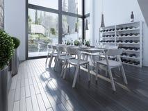Pranzare elegante con lo scaffale del vino Fotografia Stock