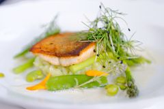 Pranzare fine, filetto di pesce della trota impanato in erbe e spezia Fotografia Stock Libera da Diritti