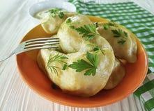 Pranzo casalingo del tovagliolo dell'aperitivo tradizionale della forcella della cipolla verde della cucina della farina della sa Immagini Stock