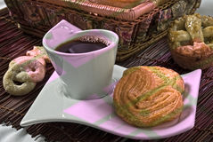 Pranzo con pane fresco Fotografia Stock