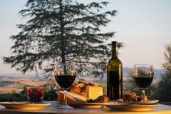 Pranzo con vino Fotografie Stock Libere da Diritti
