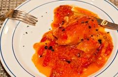 Pranzo dei peperoni e della salsa arrostiti suffed ad un evento dell'assaggio della cantina Immagini Stock Libere da Diritti