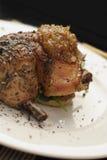 Pranzo del pollo di arrosti; il raccolto vicino ad angolo immagini stock
