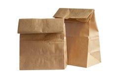Pranzo del sacco di carta di due Brown (con il percorso di ritaglio) Fotografie Stock Libere da Diritti