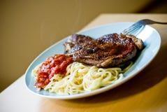 Pranzo della bistecca dell'occhio della nervatura Fotografie Stock Libere da Diritti