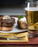 Pranzo della patata e della bistecca Fotografie Stock
