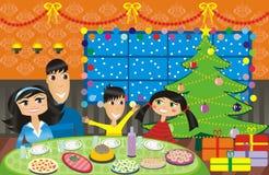Pranzo di festa della famiglia illustrazione vettoriale