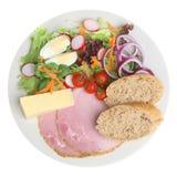 Pranzo di Ploughmans con il formaggio di formaggio cheddar Fotografia Stock