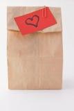 Pranzo ed amore del sacchetto del Brown Fotografia Stock