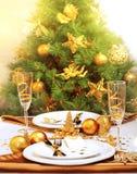 Pranzo romantico di Christmastime Fotografia Stock Libera da Diritti