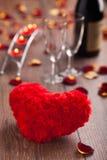 Pranzo romantico. Giorno di biglietti di S. Valentino. Fotografia Stock Libera da Diritti