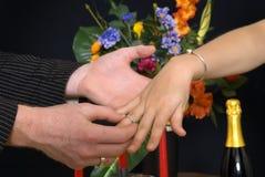 Pranzo romantico, proposta Fotografie Stock