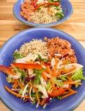 Pranzo, salmone, insalata e riso equilibrati sani Immagini Stock