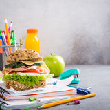 Pranzo sano per la scuola con il panino Immagine Stock Libera da Diritti