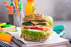 Pranzo sano per la scuola con il panino Immagini Stock
