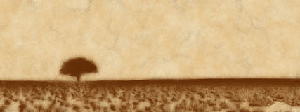 Prarie tree with brown landscape Stock Images