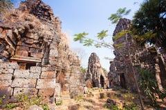 Prasat巴南寺庙在马德望,柬埔寨 图库摄影