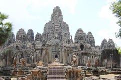 Prasat Bayon在吴哥的高棉寺庙在暹粒柬埔寨 免版税库存照片