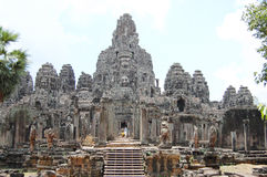 Prasat Bayon Khmer temple at Angkor in Siem Reap Cambodia. Royalty Free Stock Photo