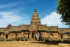 Prasat Phanom在武里喃府,泰国敲响了高棉式寺庙复合体 图库摄影