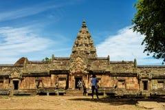 Prasat Phanom Rung Khmer-style temple complex in Buriram, Thailand. Buriram, Thailand - June 19, 2017: Tourists visiting Prasat Phanom Rung Historical Park Stock Photography