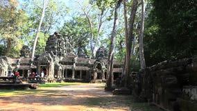 Prasat ta prohm in Angkor Wat Complex, Cambodia. People visit Prasat ta prohm in Angkor Wat Complex, Siem reap, Cambodia stock video