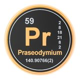 Praseodymium Pr chemical element. 3D rendering. Isolated on white background stock illustration