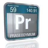Praseodymium symbol  in square shape with metallic border and transparent background with reflection on the floor. 3D render. Royalty Free Stock Photography