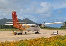 Vue d'aéroport de Praslin Photos stock