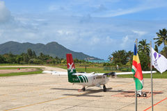 Praslin airport view Royalty Free Stock Photography