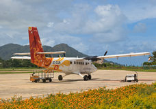 Praslin airport view Stock Photos