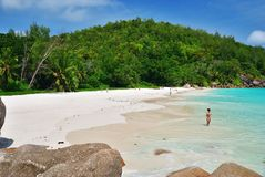 Praslin, Seychelles island. Tropical beach Anse Georgette royalty free stock photos