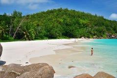 Praslin, Seychelles island. Tropical beach Anse Georgette royalty free stock photos