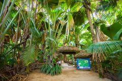 Praslin, Seychelles - May 4, 2016: Entry for Vallee de Mai Nature Reserve `May Valley`.  stock photography
