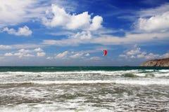 prasonisi风帆冲浪罗得斯的体育运动 免版税图库摄影