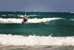 Prasonisi Aegean sea. Kitesurfing Royalty Free Stock Photo