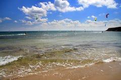 Prasonisi. Een windsurfing toevlucht. Landschap Stock Foto