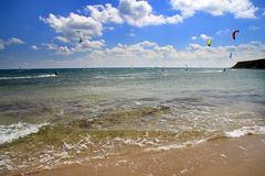 Prasonisi. Une ressource windsurfing. Horizontal Photo stock