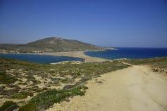 Prasonissi海滩,希腊 免版税库存照片