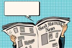 Prasowa gazeta czyta wiadomość ilustracja wektor