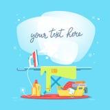 Prasowanie deska i ubrania żelazo Pojęcie usługa i gospodarstw domowych urządzenia domowa pracy, czyścić, Obrazy Royalty Free