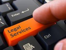 Prasowi guzików usługi prawne na Czarnej klawiaturze Zdjęcie Royalty Free