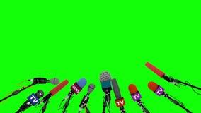 Prasowi i medialni konferencyjni mikrofony animujący na zielonym tle ilustracji