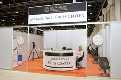 Prasowy Centre - Abu Dhabi Międzynarodowy polowanie i Equestrian wystawa 2013 fotografia stock
