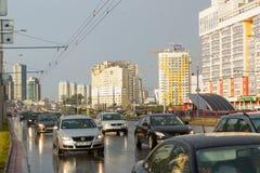 Praspiekt Dziarzynskaha, Malinauka区 免版税库存照片