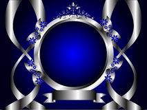 Prata abstrata e fundo floral azul Foto de Stock Royalty Free