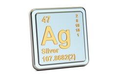 Prata AG, sinal do elemento químico rendição 3d Ilustração Stock