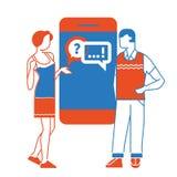 Prata begrepp prata med chatbot på smartphonen också vektor för coreldrawillustration vektor illustrationer