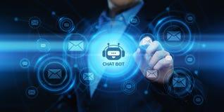 Prata begreppet för teknologi för internet för affären för den botrobotdet online-prata kommunikationen stock illustrationer